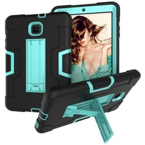 Voor Galaxy Tab A 8.0 (2018) T387 Contrast Color Silicone + PC Combination Case with Holder (Black + Aqua)
