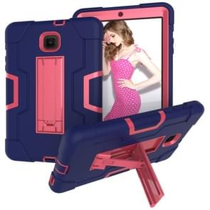 Voor Galaxy Tab A 8.0 (2018) T387 Contrast Color Silicone + PC Combination Case with Holder (Navy Blue + Rose Red)