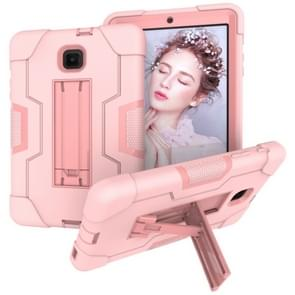 Voor Galaxy Tab A 8.0 (2018) T387 Contrast Color Silicone + PC Combination Case with Holder (Rose Gold)