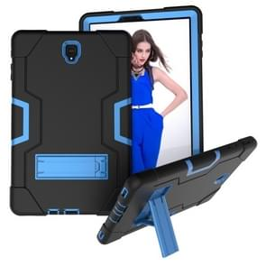 Voor Galaxy Tab S4 10.5 T830 Contrast Color Silicone + PC Combination Case with Holder (Black + Blue)