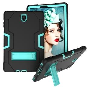 Voor Galaxy Tab S4 10.5 T830 Contrast Color Silicone + PC Combination Case with Holder (Black + Aqua)