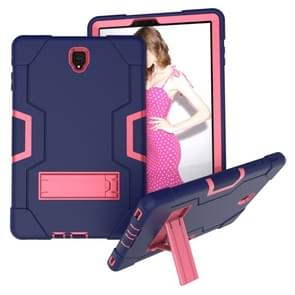 Voor Galaxy Tab S4 10.5 T830 Contrast Color Silicone + PC Combination Case with Holder (Navy Blue + Rose Red)