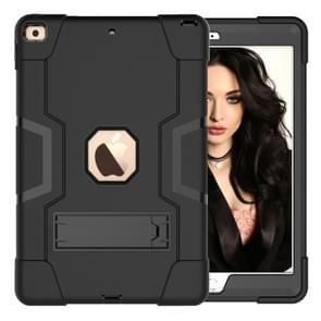 Voor iPad 10.2 contrastkleur siliconen + pc-combinatiecase met houder (zwart)