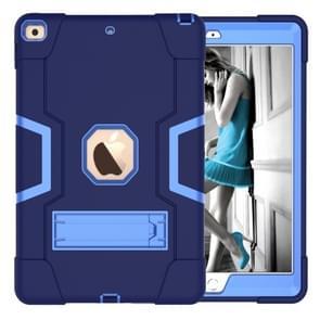 Voor iPad 10 2 contrast kleur silicone + PC combinatie geval met houder (marineblauw + blauw)