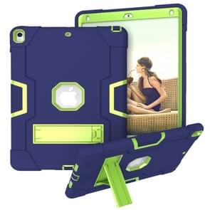For iPad 10.5 Contrast Color Silicone + PC Combination Case with Holder(Navy Blue +Olivine)