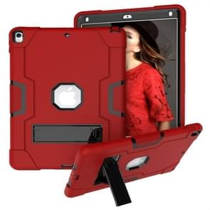 For iPad 10.5 Contrast Color Silicone + PC Combination Case with Holder(Red + Black)