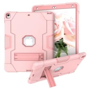Voor iPad 10.5 Contrast Color Silicone + PC Combination Case with Holder (Rose Gold)