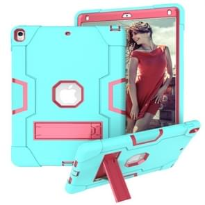 Voor iPad 10.5 Contrast Color Silicone + PC Combination Case with Holder (Aqua + Rose Red)