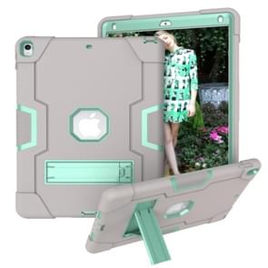 Voor iPad 10.5 Contrast Color Silicone + PC Combination Case with Holder (Grey + Aqua)