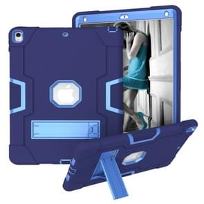 Voor iPad 10.5 Contrast Color Silicone + PC Combination Case with Holder (Navy Blue + Blue)