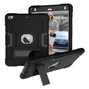 Voor iPad Mini 5 / 4 contrastkleur siliconen + pc-combinatiecase met houder (zwart)