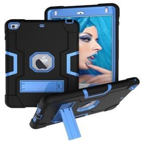 Voor iPad Mini 5 / 4 contrastkleur siliconen + pc-combinatiecase met houder (zwart + blauw)