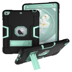 Voor iPad Mini 5 / 4 Contrast Kleur Siliconen + PC Combinatie Case met Houder (Zwart + Aqua)