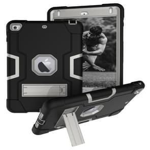 Voor iPad Mini 5 / 4 contrastkleur siliconen + pc-combinatiecase met houder (zwart + grijs)