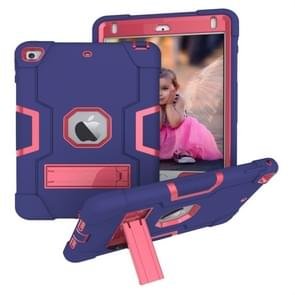 Voor iPad Mini 5 / 4 Contrast Kleur Siliconen + PC Combinatie Case met Houder (Navy Blue + Rose Red)