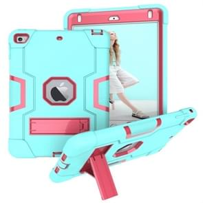 Voor iPad Mini 5 / 4 contrastkleur siliconen + pc-combinatiecase met houder (Aqua + Rose Red)