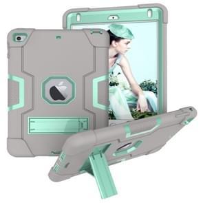 Voor iPad Mini 5 / 4 Contrast Kleur Siliconen + PC Combinatie Case met Houder (Grijs + Aqua)