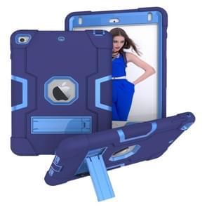 Voor iPad Mini 5/4/3/2/1 contrast kleur silicone + PC combinatie geval met houder (marineblauw + blauw)