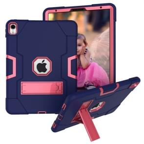 Voor iPad Pro 11 Contrast Color Silicone + PC Combination Case with Holder (Navy Blue + Rose Red)