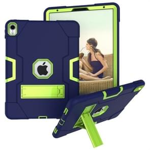 Voor iPad Pro 11 Contrast Color Silicone + PC Combination Case with Holder (Navy Blue +Olivine)