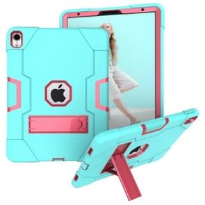 Voor iPad Pro 11 Contrast Color Silicone + PC Combination Case with Holder (Aqua + Rose Red)