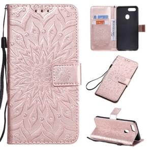 For OPPO A5 / A35 Pressed Printing Sunflower Pattern Horizontal Flip PU Leather Case with Holder & Card Slots & Wallet & Lanyard(Rose Gold)
