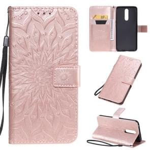 For OPPO F11 Pressed Printing Sunflower Pattern Horizontal Flip PU Leather Case with Holder & Card Slots & Wallet & Lanyard(Rose Gold)