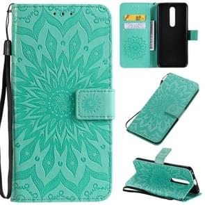 For OPPO F11 Pro Pressed Printing Sunflower Pattern Horizontal Flip PU Leather Case with Holder & Card Slots & Wallet & Lanyard(Green)