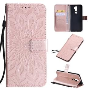 For OPPO A9 2020 / A5 2020 Pressed Printing Sunflower Pattern Horizontal Flip PU Leather Case with Holder & Card Slots & Wallet & Lanyard(Rose Gold)