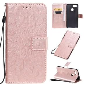 For OPPO A7 / A5s Pressed Printing Sunflower Pattern Horizontal Flip PU Leather Case with Holder & Card Slots & Wallet & Lanyard(Rose Gold)