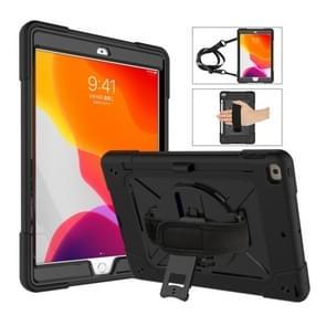 Voor iPad 10 2 contrast kleur silicone + PC combinatie geval met houder (zwart)