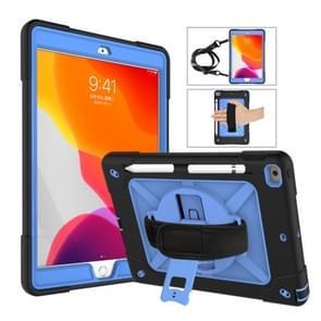 Voor iPad 10 2 contrast kleur silicone + PC combinatie geval met houder (zwart + blauw)