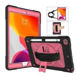 Voor iPad 10.2 contrastkleur siliconen + pc-combinatiecase met houder (zwart + rose red)