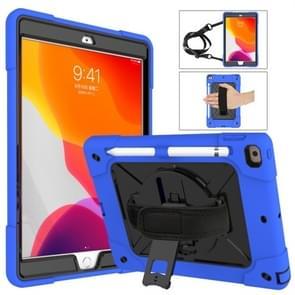 Voor iPad 10.2 contrastkleur siliconen + pc-combinatiecase met houder (donkerblauw + zwart)