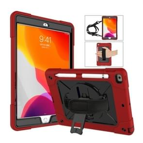 Voor iPad 10.2 contrastkleur siliconen + pc-combinatiecase met houder (rood + zwart)
