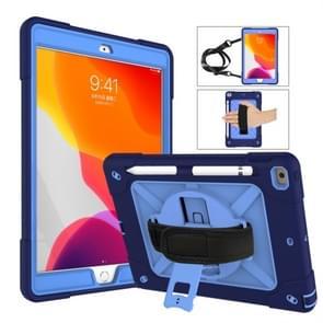 Voor iPad 10.2 contrastkleur siliconen + pc-combinatiecase met houder (Navy Blue + Blauw)