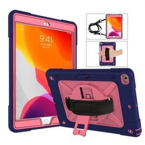 Voor iPad 10.2 contrastkleur siliconen + pc-combinatiecase met houder (Navy Blue + Rose Red)