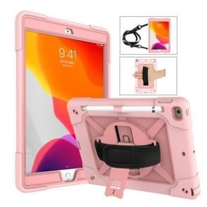 Voor iPad 10.2 contrastkleur siliconen + pc-combinatiecase met houder (roségoud)