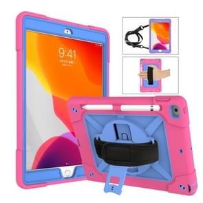 Voor iPad 10.2 contrastkleur siliconen + pc-combinatiecase met houder (Rose Red + Blauw)