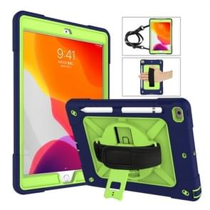 For iPad 10.2 Contrast Color Silicone + PC Combination Case with Holder(Navy Blue + Olivine)