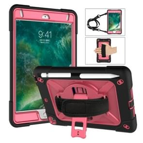 For iPad Mini 5 / 4 Contrast Color Silicone + PC Combination Case with Holder(Black + Rose Red)