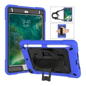 For iPad Mini 5 / 4 Contrast Color Silicone + PC Combination Case with Holder(Dark Blue + Black)