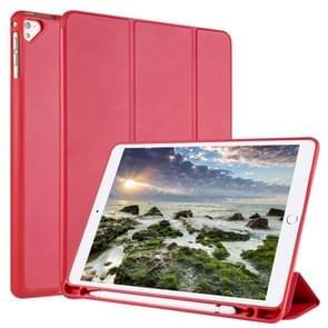 Voor iPad 9 / 8 / 7 / 6 / 5 Horizontale Flip Tablet PC PU Lederen Hoes met drie opvouwbare houder & pensleuf (rood)