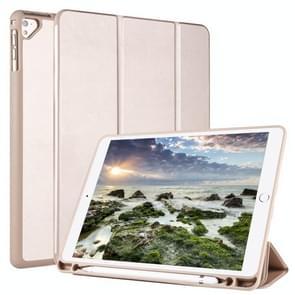 Voor iPad 9 / 8 / 7 / 6 / 5 Horizontale Flip Tablet PC PU Lederen Hoes met drie opvouwbare houder & pensleuf (goud)
