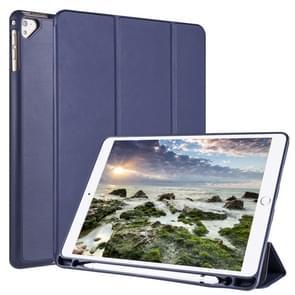 Voor iPad 9 / 8 / 7 / 6 / 5 Horizontale Flip Tablet PC PU Lederen Hoes met drie opvouwbare houder & pensleuf (donkerblauw)
