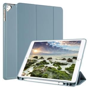 Voor iPad 9/8/7/6/5 horizontale Flip Tablet PC PU lederen draagtas met drie-vouwen houder & pen slot (Pine naald groen)