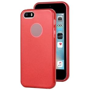 Voor iPhone 5 & 5s & SE TPU Glitter All-inclusive Beschermhoes (Rood)