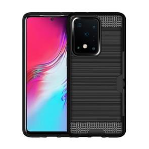 Voor Galaxy S20 Brushed Texture PC + TPU-beschermhoes met kaartsleuf (zwart)