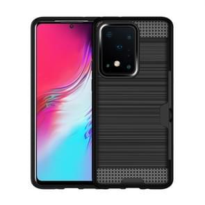 Voor Galaxy S20 Ultra Brushed Texture PC + TPU Beschermhoes met kaartsleuf (zwart)