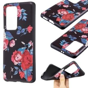 Voor Huawei P40 Pro Embossment Patroon TPU Soft Cover Case (Red Flower)